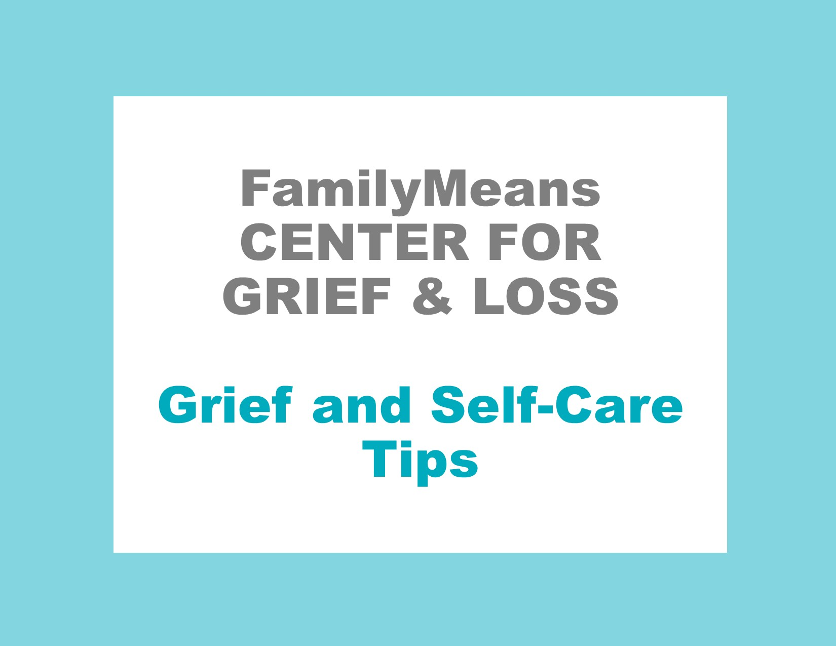 Grief and Self-Care